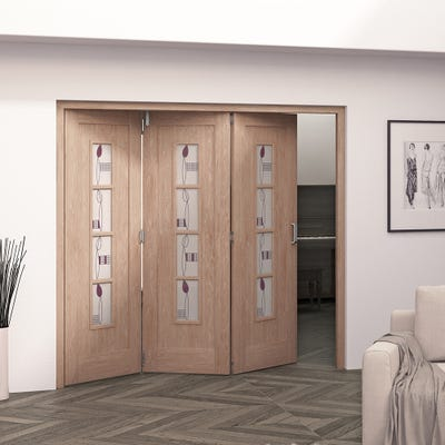Jeld-Wen Internal Oak Mackintosh 4L Glazed 3 Door Roomfold 2047 x 2157 x 92mm