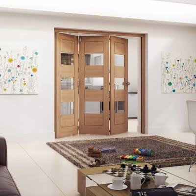 Jeld-Wen Internal Oak Oregon Cottage Horizontal Clear Glazed 3 Door Roomfold 2047 x 1929 x 92mm