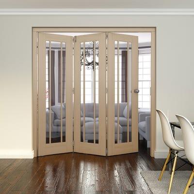 Jeld-Wen Internal Oak Worcester Clear Glazed 3 Door Roomfold 2047 x 1929 x 92mm
