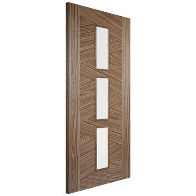 LPD Internal Walnut Zeus Prefinished 3L Clear Glazed Door