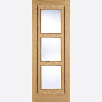 LPD Internal Oak Inlay Prefinished 3L Clear Glazed Door