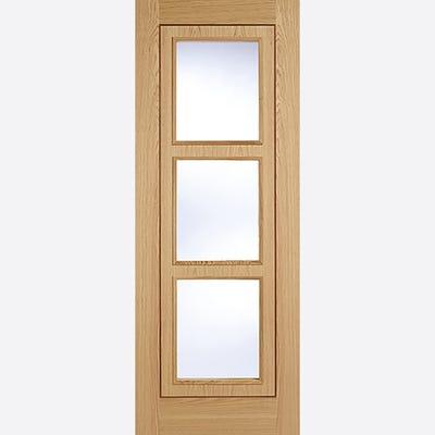 LPD Internal Oak Inlay Prefinished 3L Clear Glazed Door