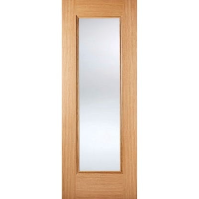 LPD Internal Oak Eindhoven 1L Prefinished Clear Glazed Door