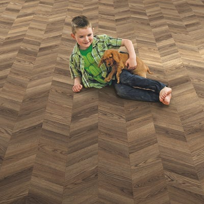 Elka 8mm Storm Oak ELV283 Herringbone Laminate Flooring