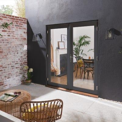 Bedgebury Grey French Patio Doorset 1.2m