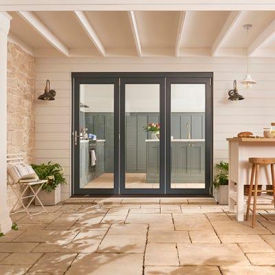 Bedgebury Grey Folding Patio Doorset 2.4m