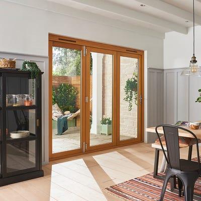 Kinsley Golden Oak Folding Patio Doorset 2.4m