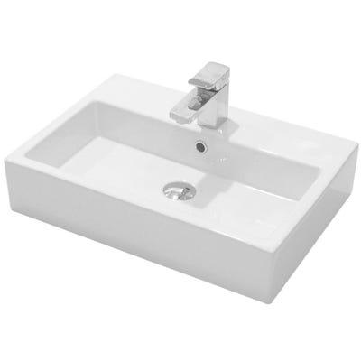 Saneux Matteo 60cm x 42cm Washbasin White 1 Tap Hole