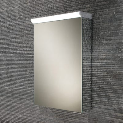 HIB Flux Compact Single Door LED Mirror Cabinet