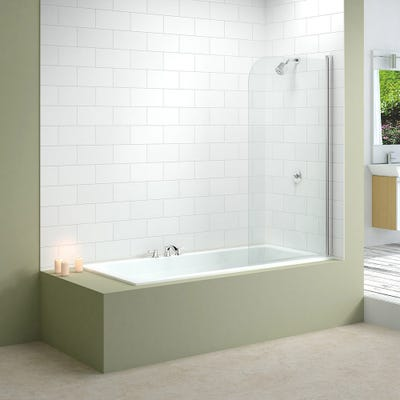 Merlyn 800mm x 1500mm Single Curved Bath Screen Silver