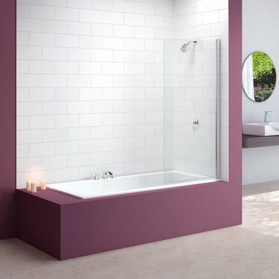 Merlyn 800mm x 1500mm Single Square Bath Screen Silver