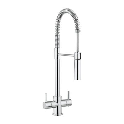 Crosswater Cucina Cook Twin Lever Kitchen Sink Tap & Flexi Spray Chrome
