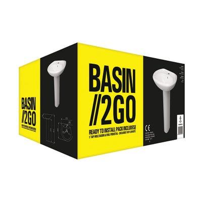 Basin 2 Go - Complete 1 Tap Hole Basin & Pedestal Set