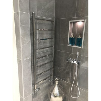 Towelrads Diva Polished Stainless Steel Straight Towel Radiator 800mm x 500mm