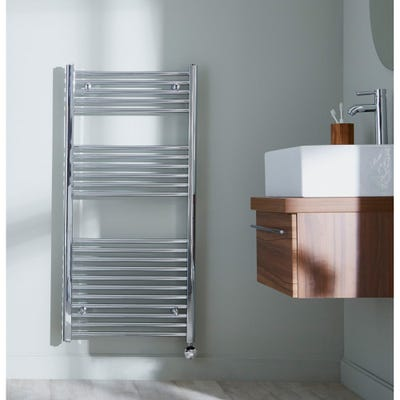 Towelrads Richmond Chrome Thermostatic Straight Towel Radiator 1186mm x 600mm