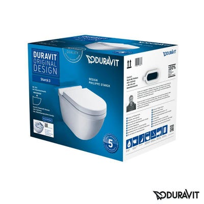 Duravit Starck 3 Wall Hung Rimless Toilet With Soft Close Seat White