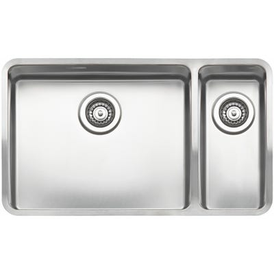 Reginox Ohio 50 x 40+18 x 40 L Inset or Undermount Sink Matt Inox