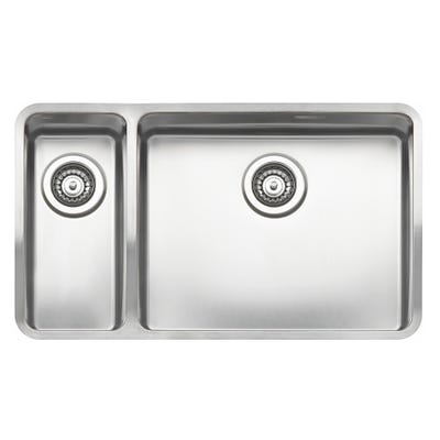 Reginox Ohio 18 x 40+50 x 40 L Inset or Undermount Sink Matt Inox