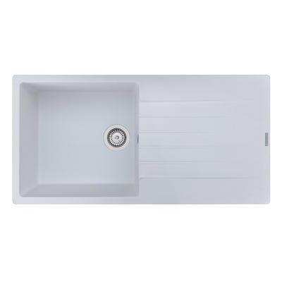 Reginox Harlem 10 1.0 Bowl Inset Sink & Drainer Pure White
