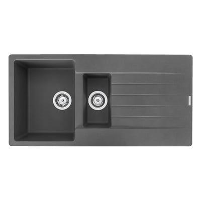 Reginox Harlem 15 1.5 Bowl Inset Sink & Drainer Grey Silvery