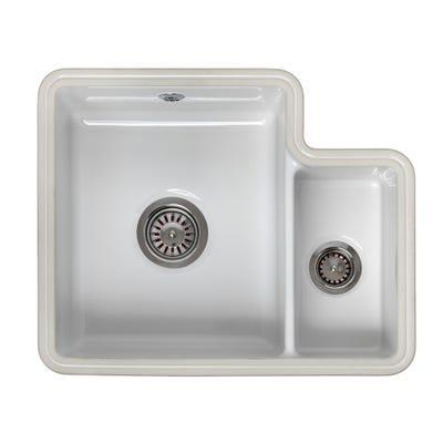 Reginox Tuscany 1.5 Bowl Undermount Ceramic Sink White