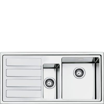 Smeg LD102S-2 Mira 1.5 Bowl Left Hand Drainer Inset Sink Stainless Steel