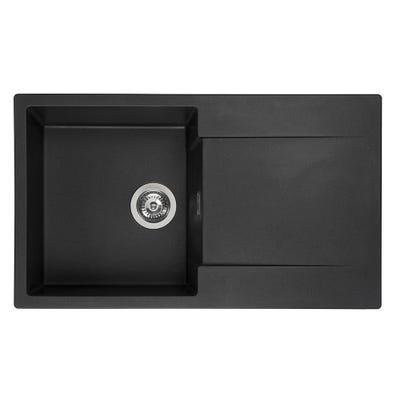 Reginox Amsterdam 10 Black Silvery 1.0 Bowl Inset Sink & Drainer