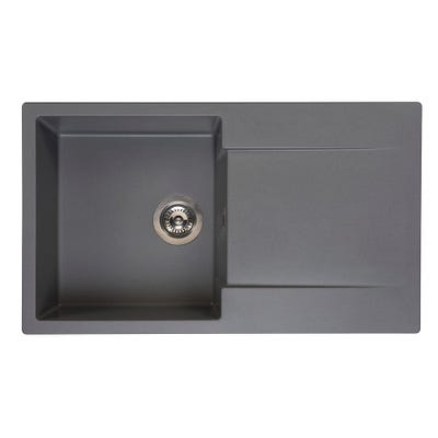 Reginox Amsterdam 10 Grey Silvery 1.0 Bowl Inset Sink & Drainer
