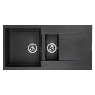 Reginox Amsterdam 15 Black Silvery 1.5 Bowl Inset Sink & Drainer