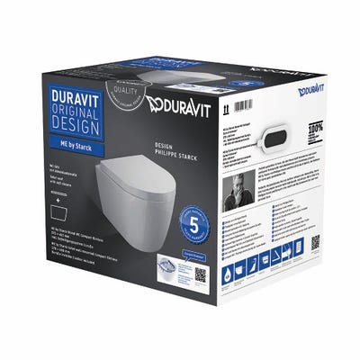 Duravit Me By Starck Compact Wall Mounted Rimless Toilet Inc Soft Close Seat