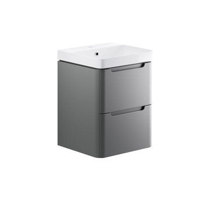 Lambra 500mm 2 Drawer Wall Hung Cloakroom Basin Unit - Matt Grey