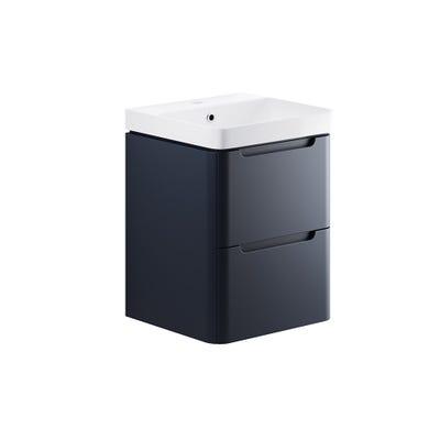 Lambra 500mm 2 Drawer Wall Hung Cloakroom Basin Unit - Matt Indigo