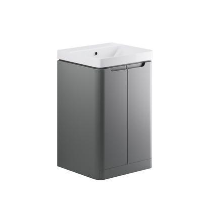 Lambra 500mm 2 Door Floor Standing Cloakroom Basin Unit - Matt Grey