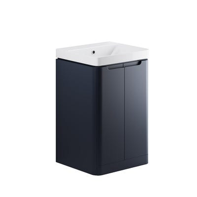 Lambra 500mm 2 Door Floor Standing Cloakroom Basin Unit - Matt Indigo