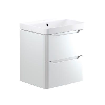 Lambra 600mm 2 Drawer Wall Hung Basin Unit - White Gloss