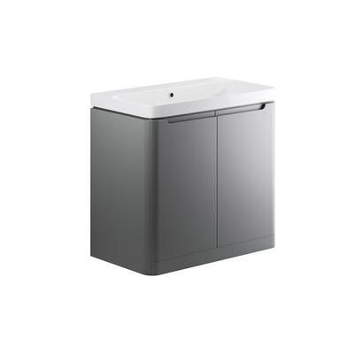 Lambra 600mm 2 Door Floor Standing Basin Unit - Matt Grey
