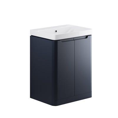 Lambra 600mm 2 Door Floor Standing Basin Unit - Matt Indigo