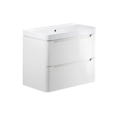 Lambra 800mm 2 Drawer Wall Hung Basin Unit - White Gloss
