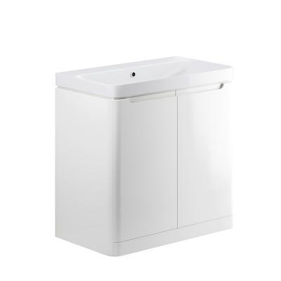 Lambra 800mm 2 Door Floor Standing Basin Unit - White Gloss