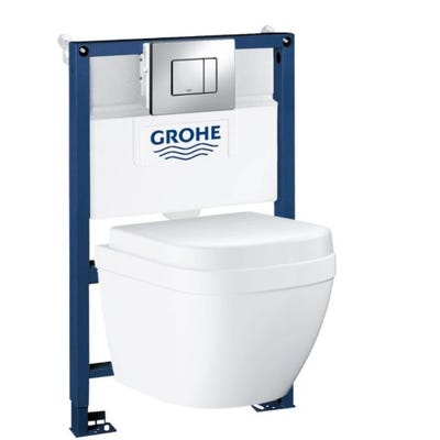 Grohe Rapid SL 0.82m Frame Set with Euro Rimless Wall Hung WC & Seat