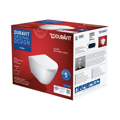 Duravit D-Neo Wall Mounted Rimless Toilet With Soft Close Seat White