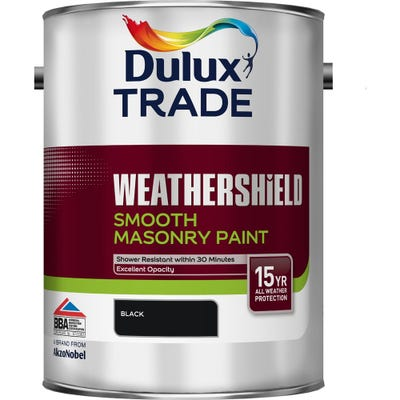 Dulux Trade Weathershield Smooth Masonry Paint Black 5L