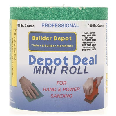 Builder Depot Professional Green Ally Oxide Sandpaper P40 10m Roll