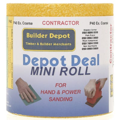 Builder Depot Contractor Yellow Ally Oxide Sandpaper P40 10m Roll