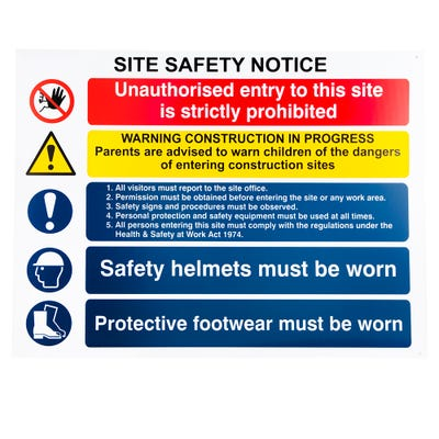 Composite Safety Sign for Construction Site Safety 800mm x 600mm