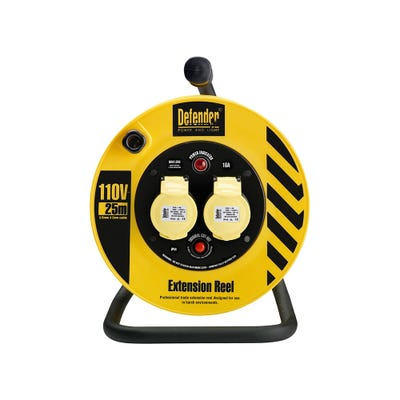 Defender 110V 1.5mm x 25m x 2 Outlets Cable Reel