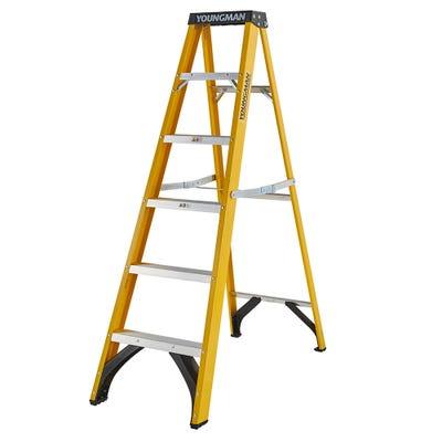 Youngman 6 Tread Heavy Duty Glass Fibre Trade Step Ladder
