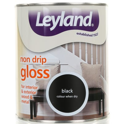 Leyland Non Drip Gloss Paint Black 750ml