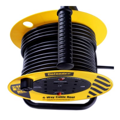 Defender 230V 1.25mm x 20m Cable Extension Reel With 4 Outlets