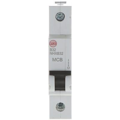 Wylex 32A MCB Single Pole Type B NHXB32